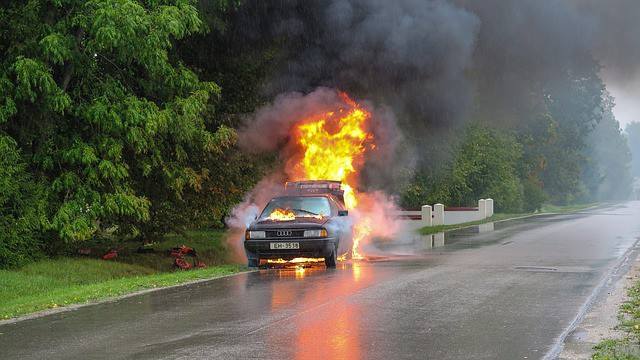 Car insurance blog - picture of burning car